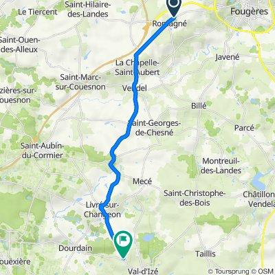 De 3 Rue des Saules, Romagné à Allée de la Croix Carrée, Val-d'Izé