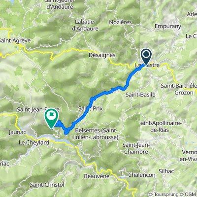 De 24 Place des Frères de Montgolfier, Lamastre à Route de Saint-Jean-Roure, Saint-Cierge-sous-le-Cheylard