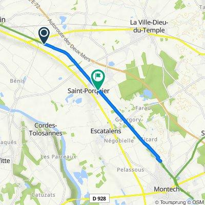 De Chemin Bessières, Castelsarrasin à Route de Mengane, Saint-Porquier