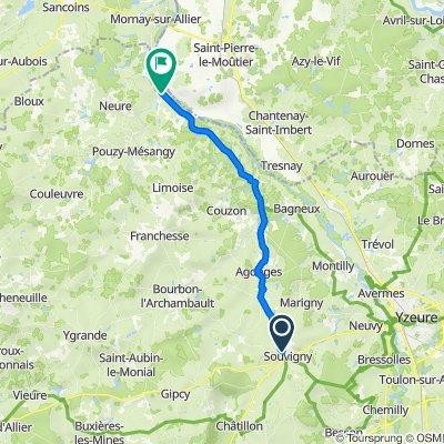 De 10 Route de Saint-Menoux, Souvigny à 2 Fbg de Lorette, Le Veurdre