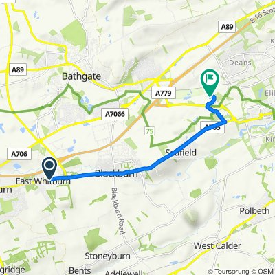 Route from Main St, East Whitburn, Bathgate
