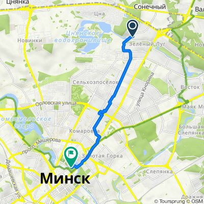 От улица Гамарника 30, Минск до улица Янки Купалы, Минск
