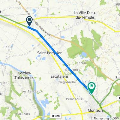 De 1225 Chemin des Dantous, Castelsarrasin à Route de Pech Laborie, Montech