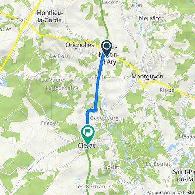 De 9 Le Bourg, Saint-Martin-d'Ary à 2bis Route des Châteaux, Clérac