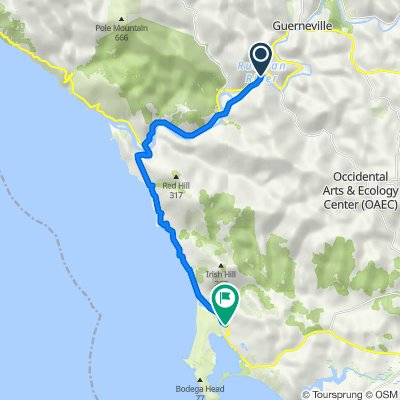 21861 Russian River Ave, Monte Rio to 2001 N Highway One, Bodega Bay