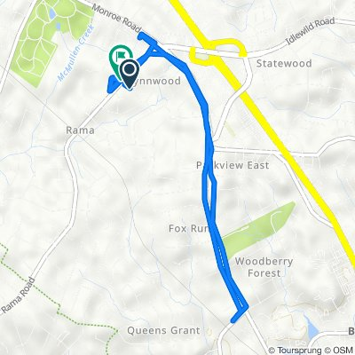 Route from 5922 Bluebonnet Rd, Charlotte