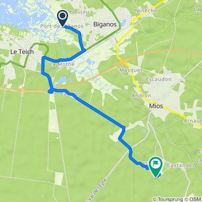 Route naar 61–65 Route de Curchade, Mios