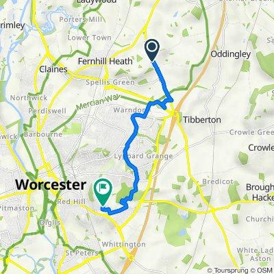 Pershore Lane, Martin Hussingtree, Worcester to 20 Mortlake Ave, Worcester