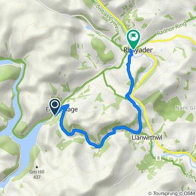 Route to Afonwy House, Bridge St, Rhayader