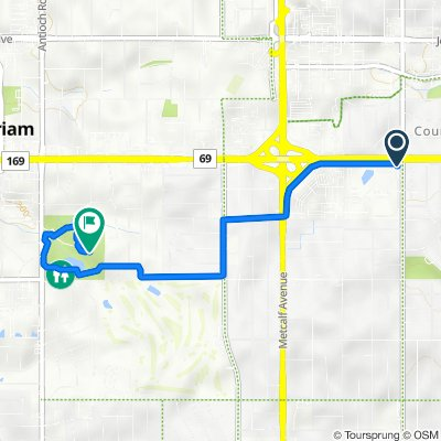Frontage Rd, Overland Park to 6501 Antioch Rd, Merriam