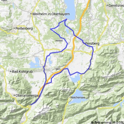 Oberau - Murnau - Seeshaupt - Penzberg - Kochel - Oberau