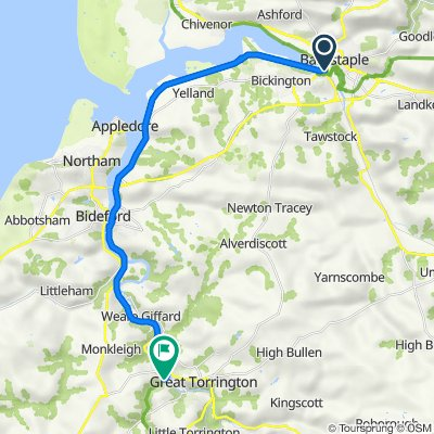 Route from A3125, Sticklepath, Barnstaple