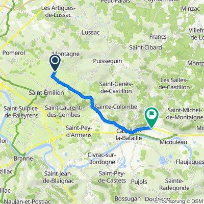 De 2 Trimoulet, Saint-Émilion à D936, Castillon-La-Bataille