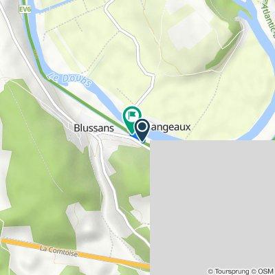 Rue du Doubs, Blussans nach Ruele. n du Doubs, Blussans