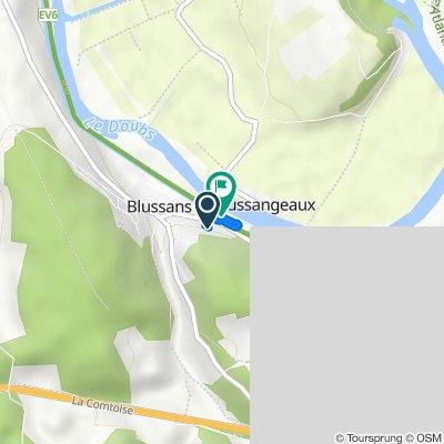 14 Rue des Géraniums, Blussans nach Rue du Doubs, Blussans
