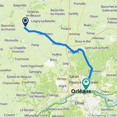 De 36 Rue des Champarts, Guillonville à 2 Allée des Myosotis, Orléans