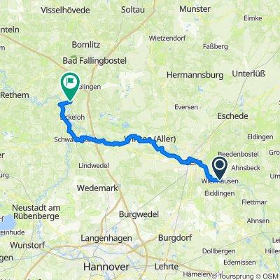 Saale 16 kurz: Wienhausen - Hodenhagen, The Cosy Home, 71,1km, 86hm