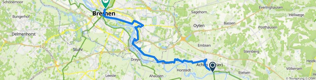 Saale 18 kurz: Achim - Bremen Hbf, 29,9km, 30hm