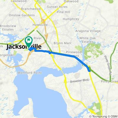 903 Lejeune Blvd, Jacksonville to 111–115 Montford Landing Rd, Jacksonville