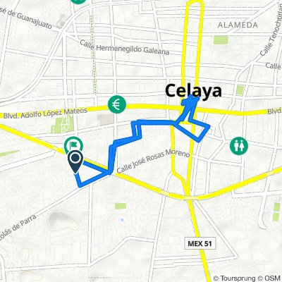 De Paseo de la Hacienda 304, Celaya a Paseo de la Hacienda 103, Celaya