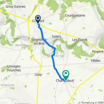 De 2–24 Allée du Cygne, Coubert a 49 Rue Grande, Champdeuil
