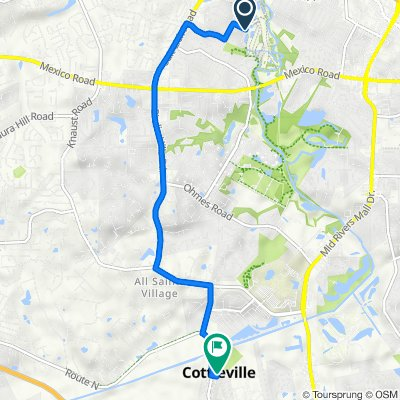 Route to 5490 Fifth St, Cottleville
