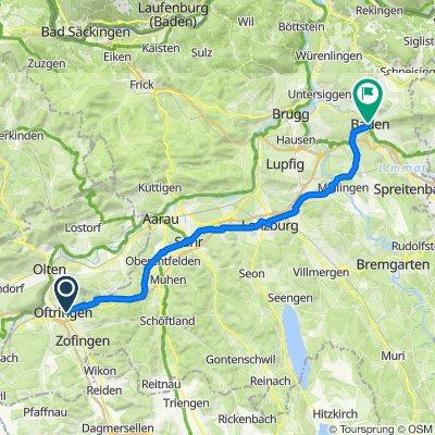 Zürichstrasse 28, Oftringen nach Bahnhofstrasse 13–17, Baden