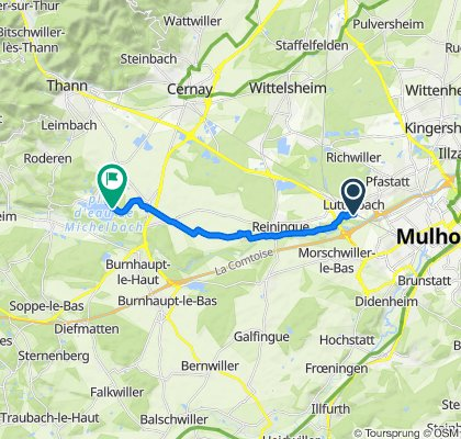Itinéraire à partir de 18 Rue du Champ des Oiseaux, Lutterbach
