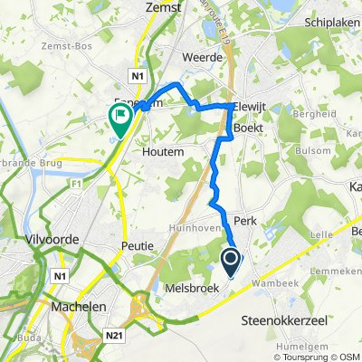 Perksesteenweg 37, Steenokkerzeel to Hoge Buizen 77–121, Zemst