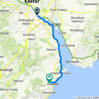Route to 79–99 Church St, Dawlish