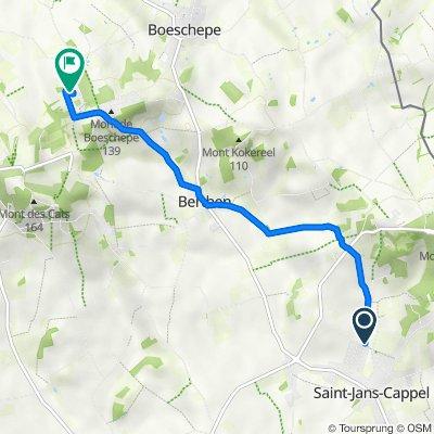 De Chemin Billiau 31, Saint-Jans-Cappel à Rue des Cinq Chemins Verts 688, Boeschepe