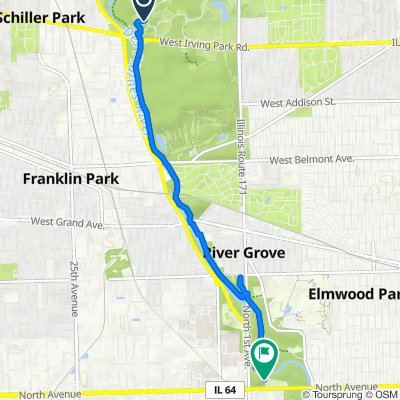 Route from 9000 Irving Park Rd, Schiller Park