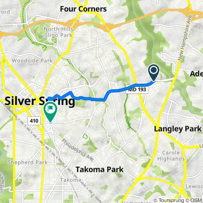 8922 Piney Branch Rd, Silver Spring to 8068–8098 Fenton St, Silver Spring