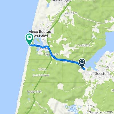 De 1 Route des Lacs, Soustons à 1–6 Montée de la Plage, Soustons