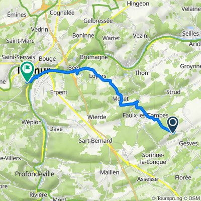 GESVES Fontaines, Gesves to Avenue Marie d'Artois 1, Namur