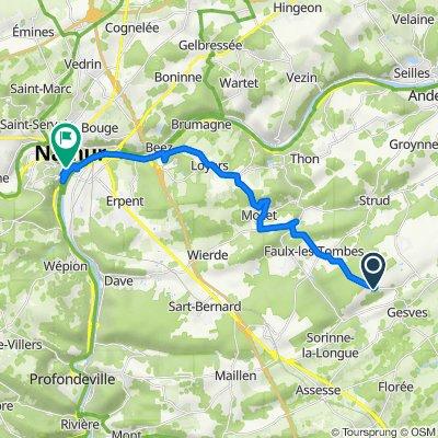 GESVES Fontaines, Gesves to Route Merveilleuse 8, Namur