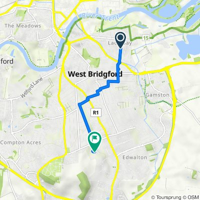 98 Gertrude Road, Nottingham to Rushcliffe School, Boundary Road, Nottingham