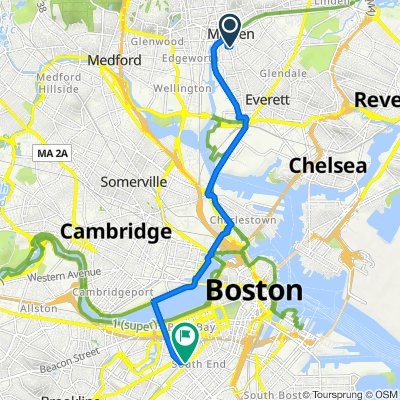 185 Main St, Malden to 6 Wellington St, Boston