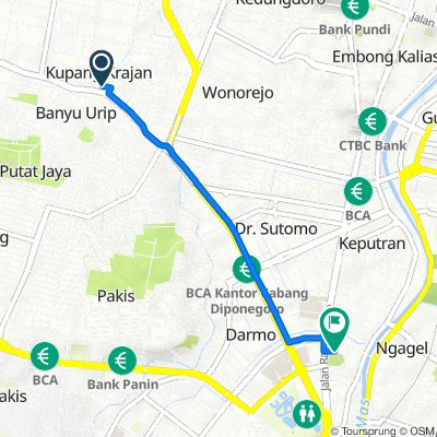 Jalan Banyu Urip Lor 6 no. 75 A, Kecamatan Sawahan to Jalan Taman Bungkul 15, Kecamatan Wonokromo