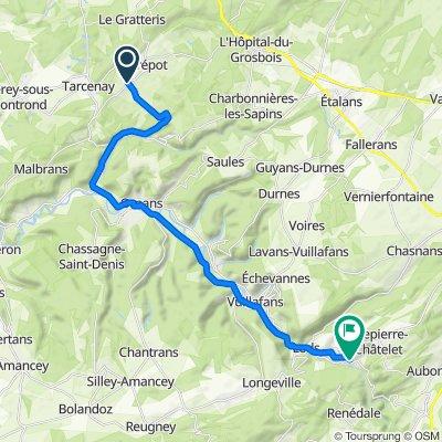 Rue du Champ de Foire 2, Tarcenay-Foucherans to Place du Prieuré 7, Mouthier-Haute-Pierre