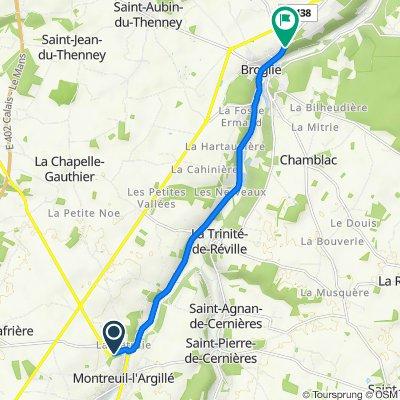 De Route d'Orbec 8, Montreuil-l'Argillé à Route de Ferrières 2, Broglie
