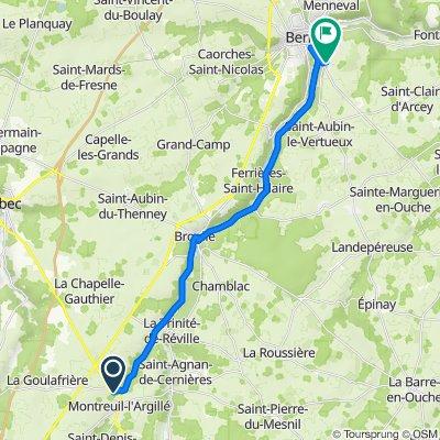 De Route d'Orbec 8, Montreuil-l'Argillé à Chemin de Saint-Clair 7, Treis-Sants-en-Ouche