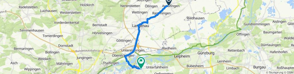 Hauptstraße 5, Asselfingen nach Ulmer Straße 39, Nersingen