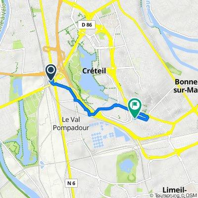 Route from Carrefour Pompadour, Créteil