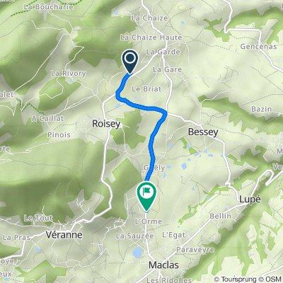 De 196 Chemin des Jarries, Roisey à Route de Pélussin, Maclas