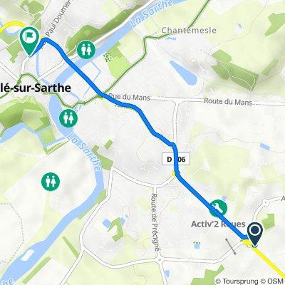 De Rue de l'Aubrée, Sablé-sur-Sarthe à 22 Rue Paul Doumer, Sablé-sur-Sarthe