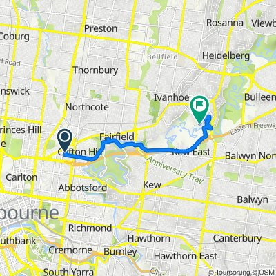 Route from 79 Hodgkinson Street, Clifton Hill
