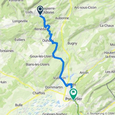 Chemin des Vignes 1, Mouthier-Haute-Pierre to Rue des Remparts 40, Pontarlier
