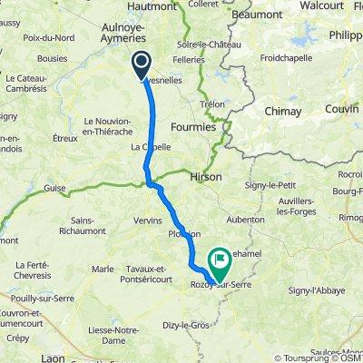 13 Route de Cartignies, Haut-Lieu naar 49 Place de l'Europe, Rozoy-sur-Serre