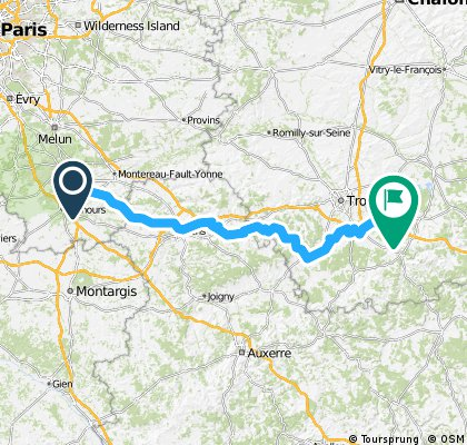 Day 1. Fontainebleau to Troyes CLONED FROM ROUTE 832596